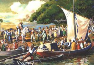 Chegada dos imigrantes em São Leopoldo em quadro de Ernst Zeuner