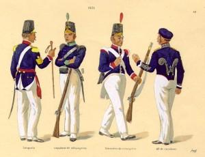 Os uniformes dos Batalhões de Estrangeiros, de 1825. Arquivo Histórico do Exército, RS